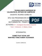 E.F.1.Investigación Documental y Exposición - Tema 1. Introducción. 2. Objetos y Clases
