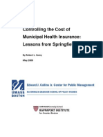 UMass-Boston/Harvard Study on Cost of Springfield Municipal Health Insurance