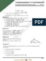 Série d'exercices de Révision N°2 - Math Rapports trigonométriques d'un angle aigu relations métriques dans un triangle rectangle - 1ère AS  (2011-2012)  Mme GUESMIA Aziza