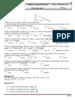 Série d'exercices N°1 - Math Rapports trigonométriques d'un angle aigu relations métriques dans un triangle rectangle - 1ère AS  (2011-2012)  Mme GUESMIA Aziza
