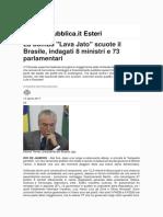 La bomba _Lava Jato_ scuote il Brasile_ indagati 8 ministri e 73 parlamentari - Repubblica