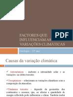 Factores que influenciam as variações climáticas