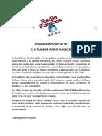 Comunicado Oficial de c.a. Rumbos -Radio Rumbos-, Oo.gf