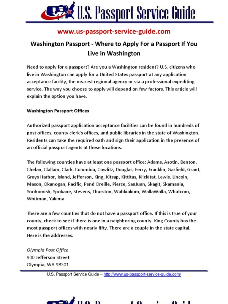 Washington Passport Where To Apply For A Passport If You Live In Washington  Washington (state