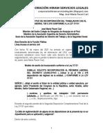 Modelo Solicitud Trabajador Cas Incorporacion Al 728 o 276 - Ley 31131 - Autor José María Pacori Cari