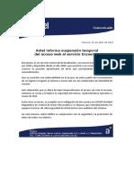 Antel informa suspensión temporal del acceso web al servicio Encuentra