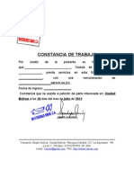 Constancia de Trabajo Inversiones Omar, C.A.