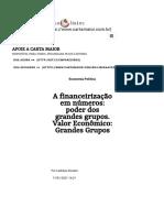 A financeirização em números_ poder dos grandes grupos. Valor Econômico_ Grandes Grupos - Carta Maior
