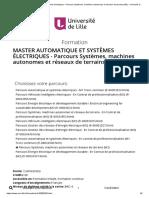 master automatique et systèmes électriques - Parcours Systèmes, machines autonomes et réseaux de terrains (M2) - Université de Lille - Université de Lille