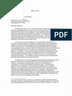 Servicing Letter to Geithner
