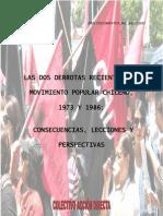 Las Dos Derrotas Recientes del Movimiento Popular Chileno, 1973 y 1986; Causas, Lecciones y Perspectivas