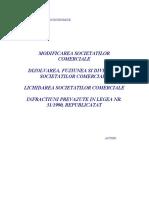 Modificarea Societatilor Comerciale; Dizolvarea, Fuziunea si Divizarea Societatilor Comerciale; Lichidarea Societatilor Comerciale; Infractiuni Prevazute in Legea Nr. 31-1990, Republicat