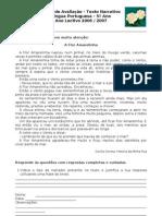 Ficha de Avaliação - Texto Narrativo