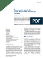TRATAMIENTO QUIRURGICO DE LOS DIVERTICULOS DEL ESOFAGO TORACICO