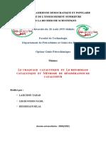 LE CRAQUAGE  CATALYTIQUE  ET  LE REFORMAGE CATALYTIQUE  ET  METHODE  DE  REGINERATION DE CATALYSEUR
