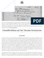Considerations Sur Les Arcana Arcanorum Axel Karol