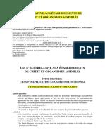 Loi Etablissement Credit