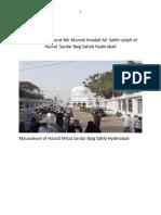 Biography of Hazrat Mir Munshi Imdad Ali Caliph of Hazrt Sardar Baig Saheb Hyderabad