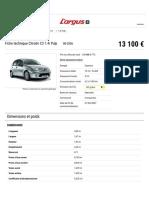 Fiche technique Citroën C3 1.4i Pulp - L'argus.fr