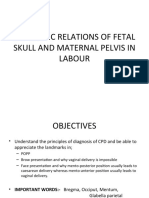 ANATOMIC RELATIONS OF FETAL SKULL AND MATERNAL PELVIS IN LABOUR