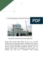 Biography of Hazrat Sardar Baig Saheb Hyderabad  and his disciples