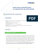Guia de Planificacion Curricular (3-4) Experiencia de Aprendizaje 2 Secundaria AeC Ccesa007