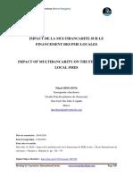 IMPACT DE LA MULTIBANCARITE SUR LE FINANCEMENT DES PME LOCALES