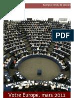 Compte rendu de la session plénière de mars 2011