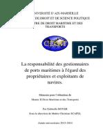 BOYER Gabrielle La Responsabilité Des Gestionnaires de Prts Maritimes à l'Égard Des Propriétaires Et Exploitants de Navires - 2014