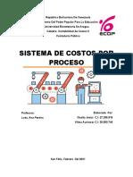 informe sistema de costos por procesos