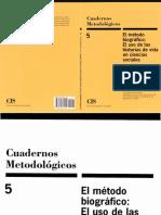 El Método Biográfico- El Uso de Las Historias de Vida en Ciencias Sociales