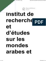 Palais Et Demeures de Fès - Demeures de Fès (Xive-xviie Siècles) - Institut de Recherches Et d'Études Sur Les Mondes Arabes Et Musulmans