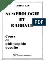 Constant Alphonse-Louis - Numérologie Et Kabbale Cours de Philosophie Occulte
