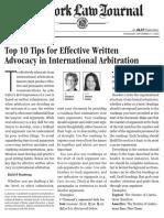 Top Ten Tips Effective Written Advocacy International Arbitration