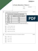 PRUEBA PARCIAL 4TO BASICO matemáticas números hasta el 10.000