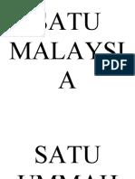 SATU MALAYSIA SATU UMMAH