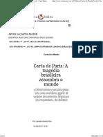 Carta de Paris a Tragédia Brasileira Assombra o Mundo - Carta Maior