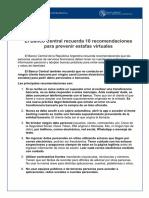 10 recomendaciones para prevenir estafas virtuales del BCRA