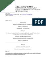 PER – 12MENVI2007 – PETUNJUK TEKNIS PENDAFTARAN KEPESERTAAN, PEMBAYARAN IURAN, PEMBAYARAN SANTUNAN DAN PELAYANAN JAMINAN SOSIAL TENAGA KERJA