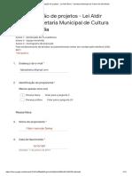 Formulário de Inscrição de Projetos - Lei Aldir Blanc -