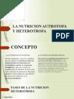 LA NUTRICION AUTROTOFA Y HETEROTROFA