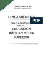 Lineamientos Para El Ciclo Escolar 2021 2022 SEP Puebla