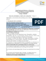 Guía de actividades y rúbrica de evaluación –  Unidad 3 -Tarea  4  - Habilidades y herramientas del psicólogo para el abordaje en grupos étnicos