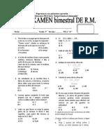 1erEXAMEN BIMESTRAL DE RM 3ER AÑO FILA B