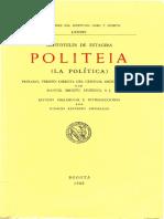 Aristóteles de Estagira-Politeia (La política)  -Bogotá (1989)