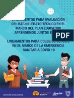 LINEAMIENTOS PARA EVALUACIÓN DEL BACHILLERATO TÉCNICO EN EL MARCO DEL PLAN EDUCATIVO APRENDEMOS JUNTOS EN CASA