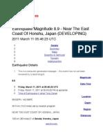 TSUNAMI WARNING Japan Earthquake - Massive 8.9 on the Richter scale!!! USGS Data TSUNAMI WARNING