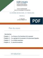 SUPPORT COURS Economie Monétaire Et Financière I