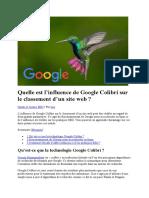 Asutce pour savoir l'Influence de Google Colibri Sur Le Classement d'Un Site Web