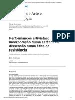 Performances artivistas_ incorporação duma estética de dissensão numa ética de resistência